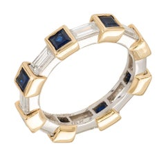 Tiffany & Co 4.00 Carat Sapphire and Baguette Diamond Gold Platinum Band Ring