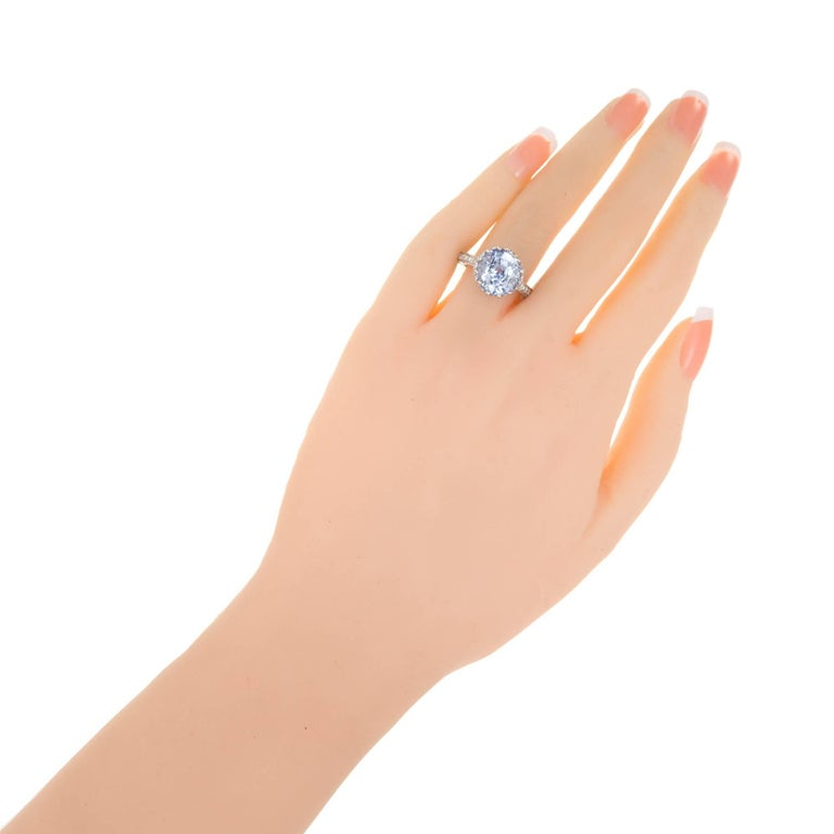 GIA Certified Peter Suchy 7.22 Carat Blue Sapphire Diamond Engagement Ring In Good Condition For Sale In Stamford, CT