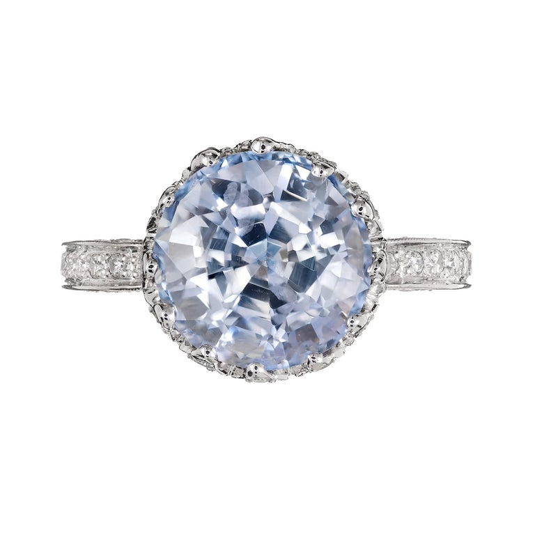 Round Cut GIA Certified Peter Suchy 7.22 Carat Blue Sapphire Diamond Engagement Ring For Sale