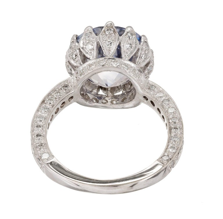 Women's GIA Certified Peter Suchy 7.22 Carat Blue Sapphire Diamond Engagement Ring For Sale