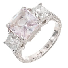 GIA Certified Peter Suchy 4.66 Carat Pink Sapphire Diamond Engagement Ring