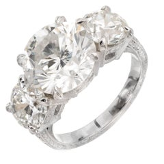 Peter Suchy 5.46 Carat Diamond Three-Stone Platinum Engagement Ring