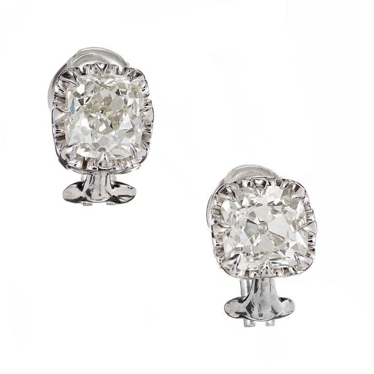 Peter Suchy 3.10 Carat Diamond Stud Platinum Earrings