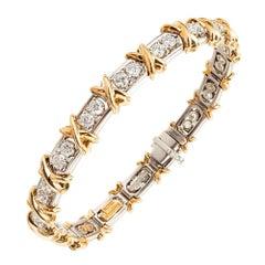 Tiffany & Co. Schlumberger 2.95 Carat Diamond Platinum Gold Bracelet