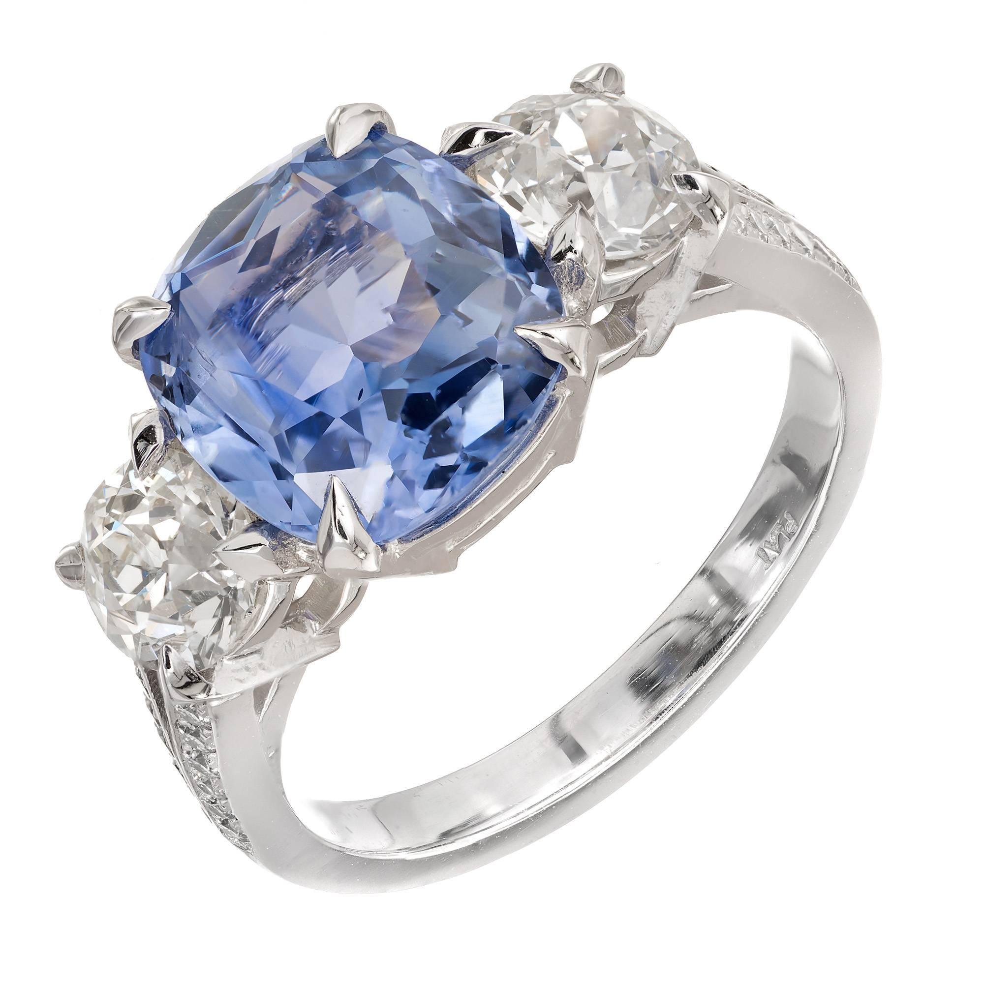 GIA Certified Peter Suchy 4.34 Carat Cushion Sapphire Platinum Engagement Ring