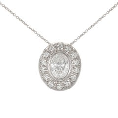 Peter Suchy .83 Carat Diamond Bead Bezel Halo Platinum Slide Pendant Necklace