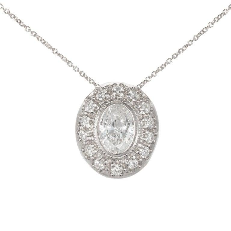 Peter Suchy .83 Carat Diamond Bead Bezel Halo Platinum Slide Pendant Necklace