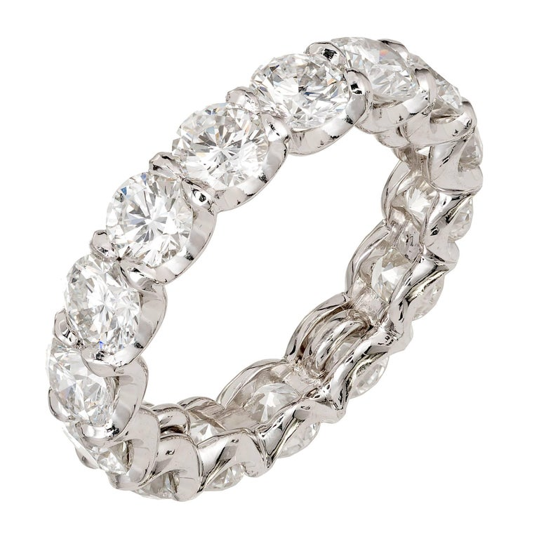 Peter Suchy 4.50 Carat Ideal Cut Diamond Platinum Common Prong Eternity Band