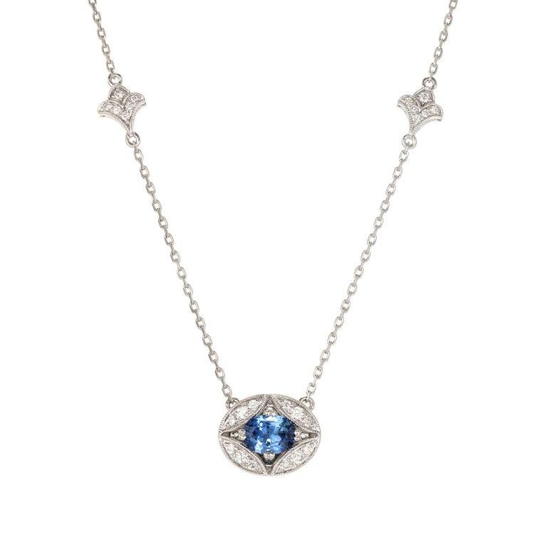 1.00 Carat Oval Sapphire Diamond Gold Pendant Necklace