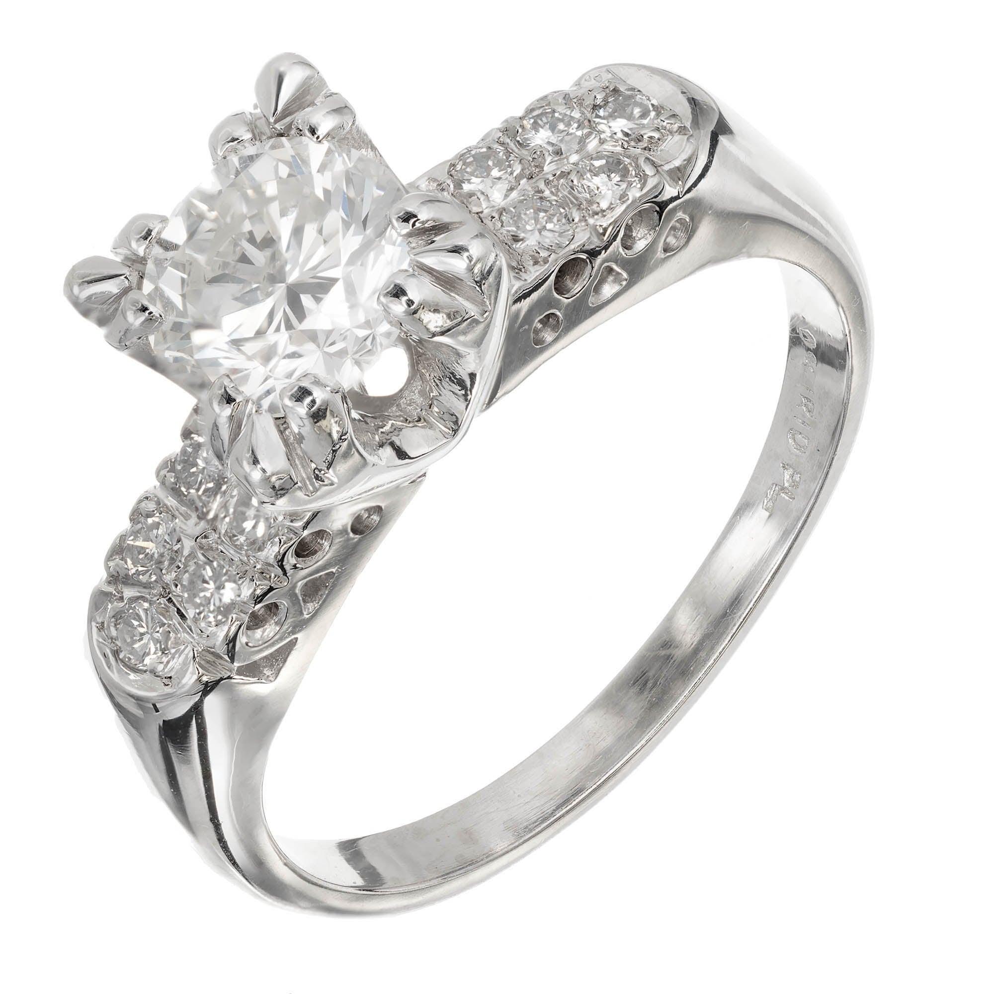 EGL Certified .90 Carat Diamond Midcentury Platinum Engagement Ring