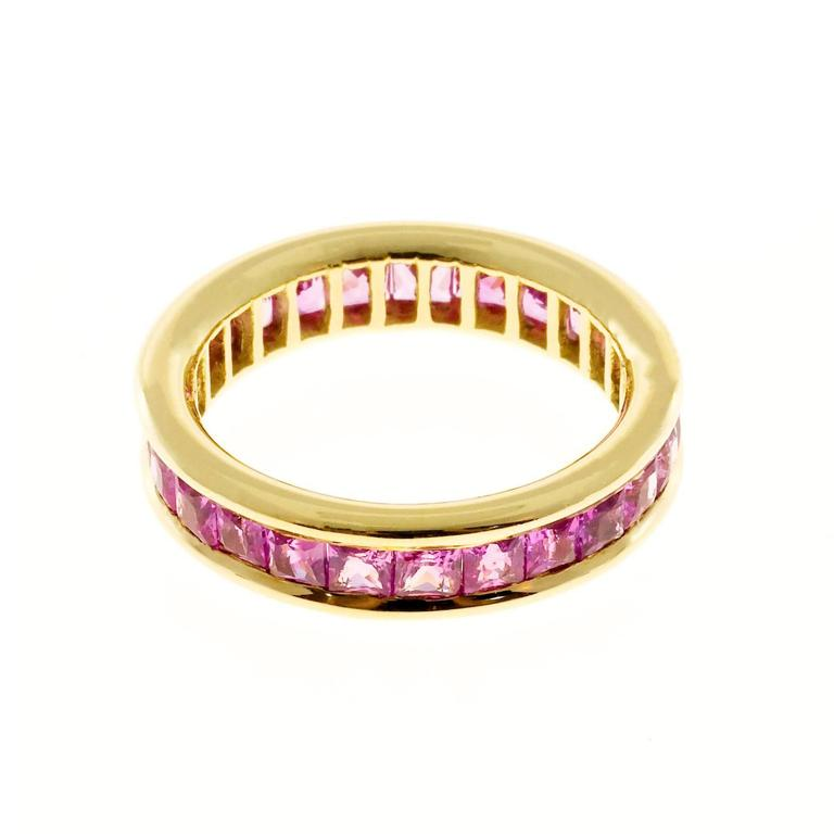 Princess Cut Pink Sapphire Gold Eternity Band Ring For