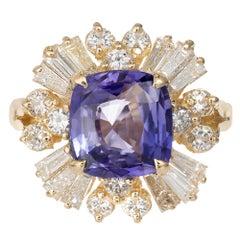 3.45 Carat Sapphire Diamond Color Change Violet Purple Gold Engagement Ring