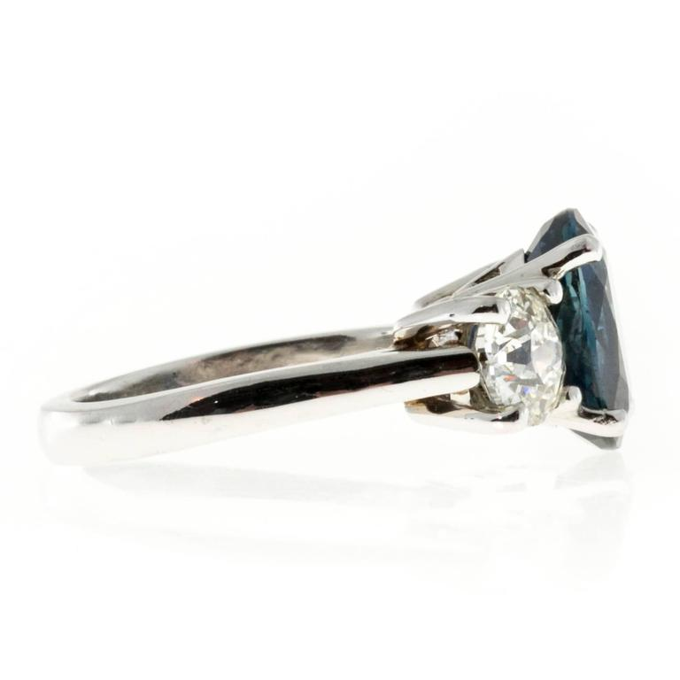 Peter Suchy Cornflower Blue Sapphire Diamond Three Stone Platinum Ring 3