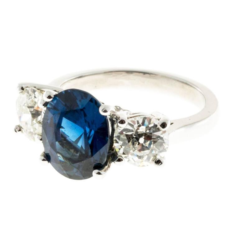 Peter Suchy Cornflower Blue Sapphire Diamond Three Stone Platinum Ring