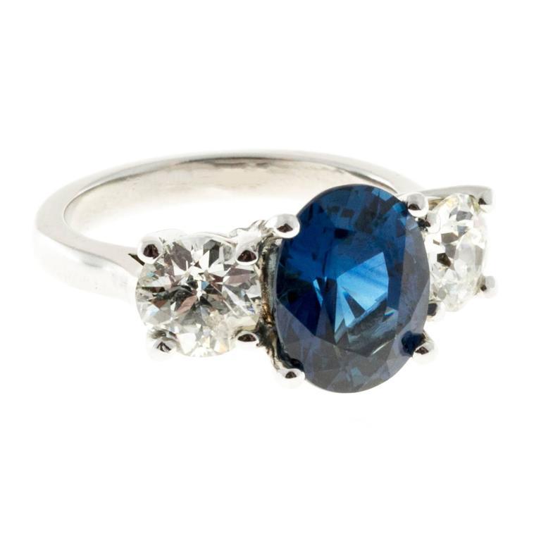 Peter Suchy Cornflower Blue Sapphire Diamond Three Stone Platinum Ring 6