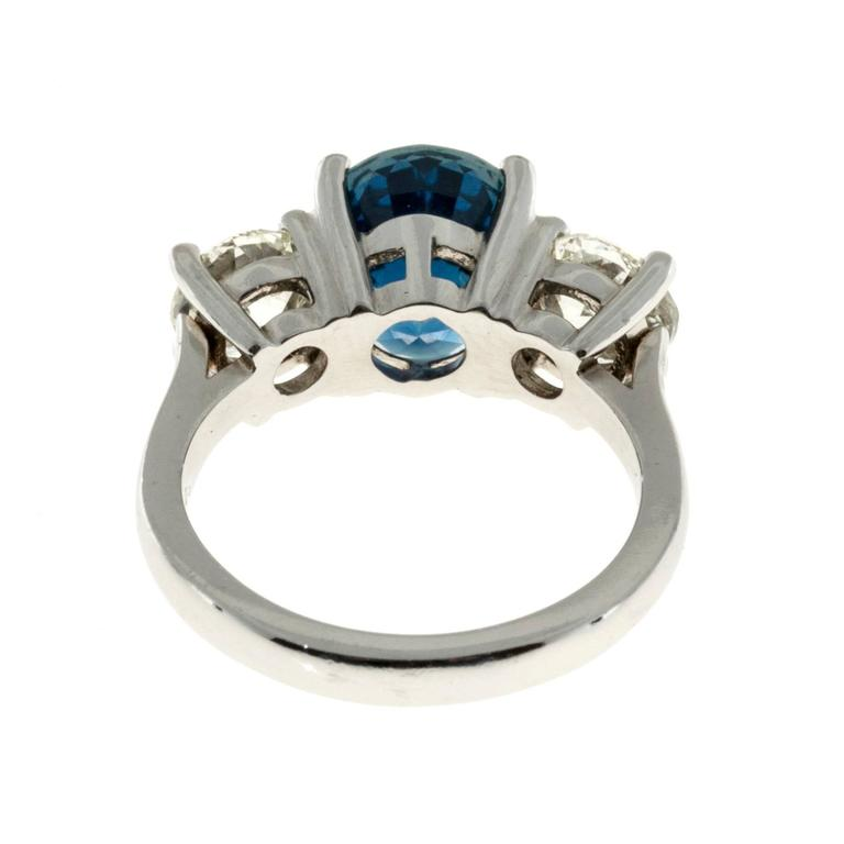 Peter Suchy Cornflower Blue Sapphire Diamond Three Stone Platinum Ring 5