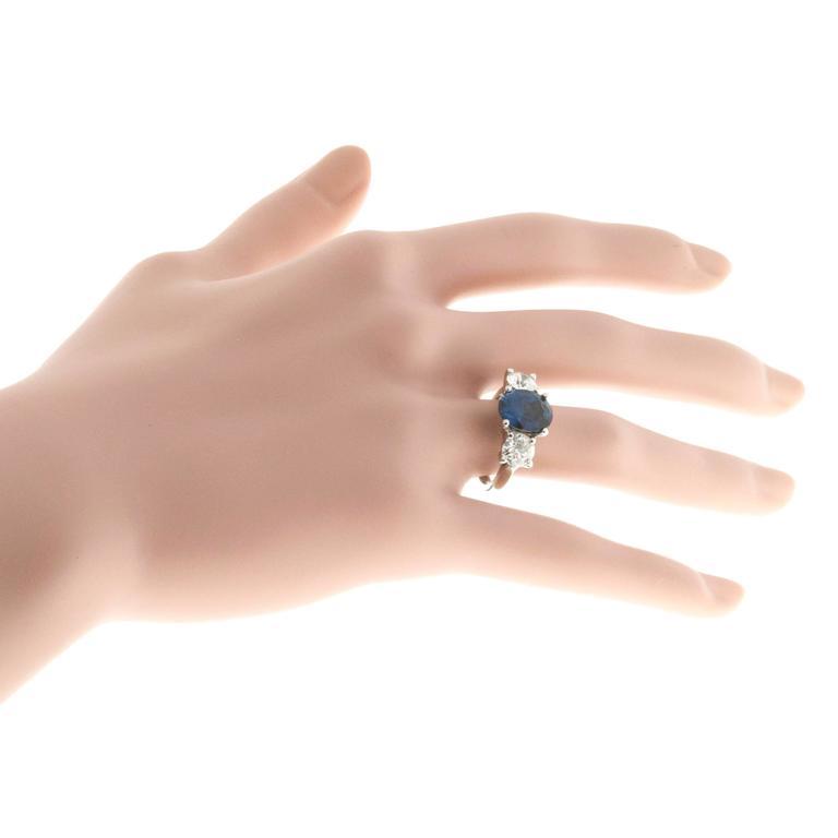 Peter Suchy Cornflower Blue Sapphire Diamond Three Stone Platinum Ring 7