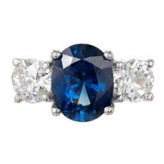 Peter Suchy 5.77 Carat Sapphire Diamond Three-Stone Platinum Engagement Ring