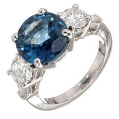 Peter Suchy 4.17 Carat Natural Round Sapphire Diamond Platinum Engagement Ring