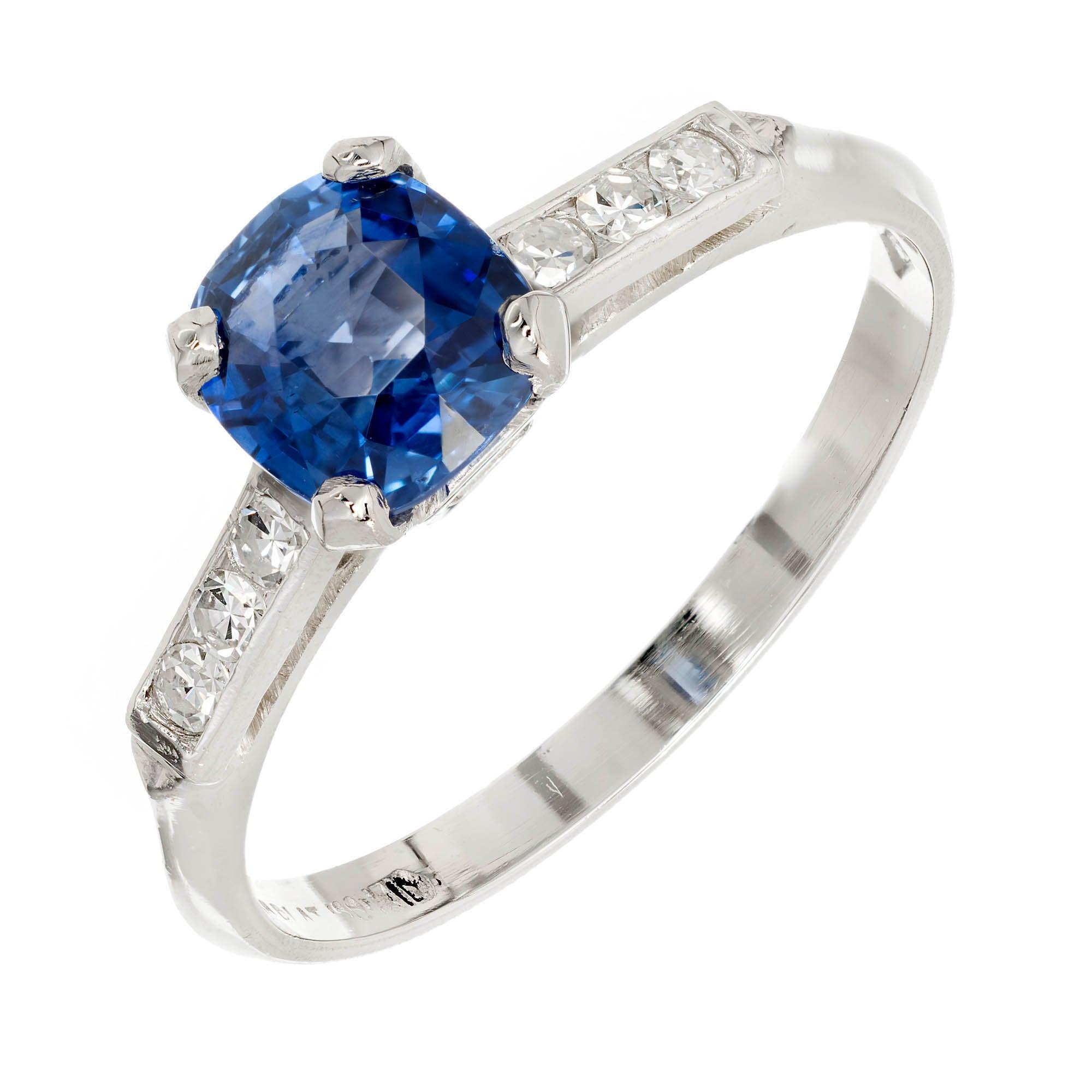 GIA Certified 1.03 Carat Blue Sapphire Diamond Platinum Engagement Ring