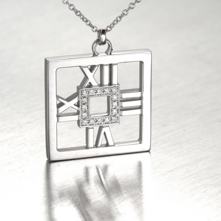 Tiffany & Co. .22 Carat Diamond Gold Square Atlas Pendant Necklace In Good Condition For Sale In Stamford, CT
