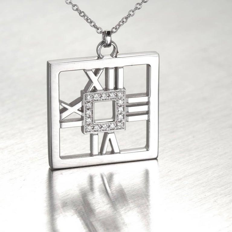 Tiffany & Co. .22 Carat Diamond Gold Square Atlas Pendant Necklace 3