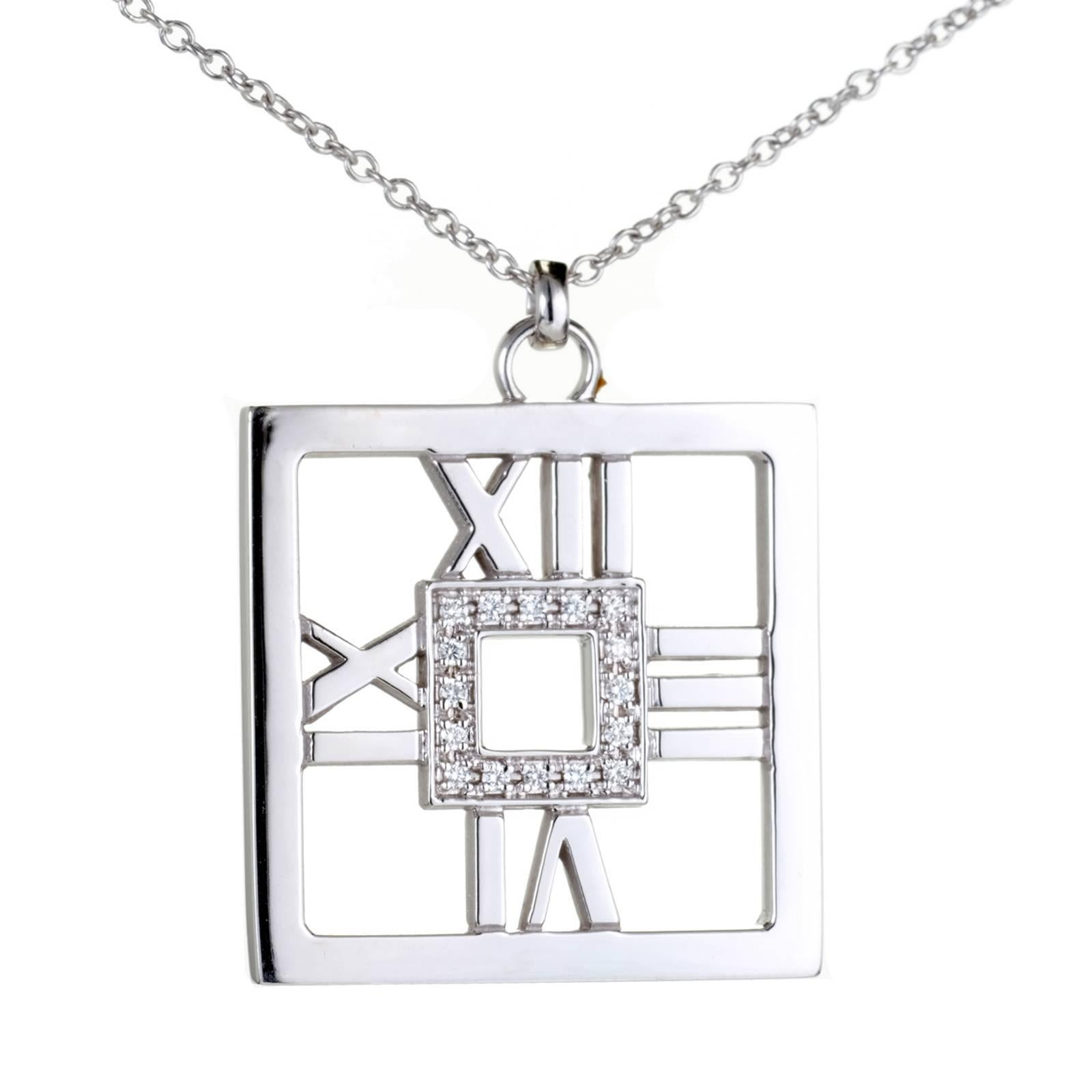 Tiffany & Co. .22 Carat Diamond Gold Square Atlas Pendant Necklace