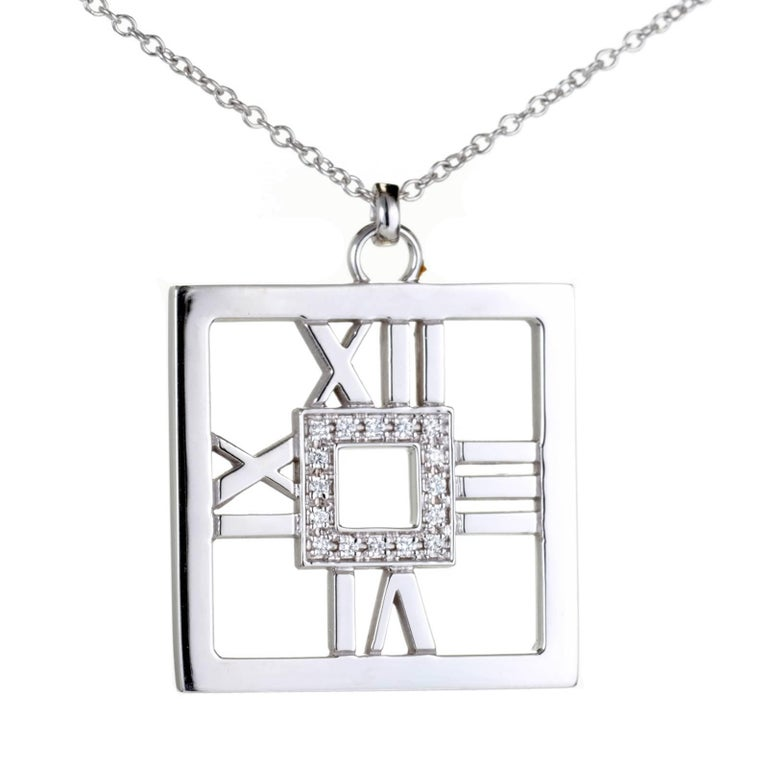 Tiffany & Co. .22 Carat Diamond Gold Square Atlas Pendant Necklace
