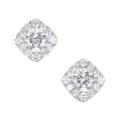 Hearts on Fire 1.06 Carat Diamond Gold Halo Cushion Square Stud Earrings