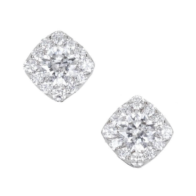 Hearts On Fire 1 06 Carat Diamond Gold Halo Cushion Square Stud Earrings For