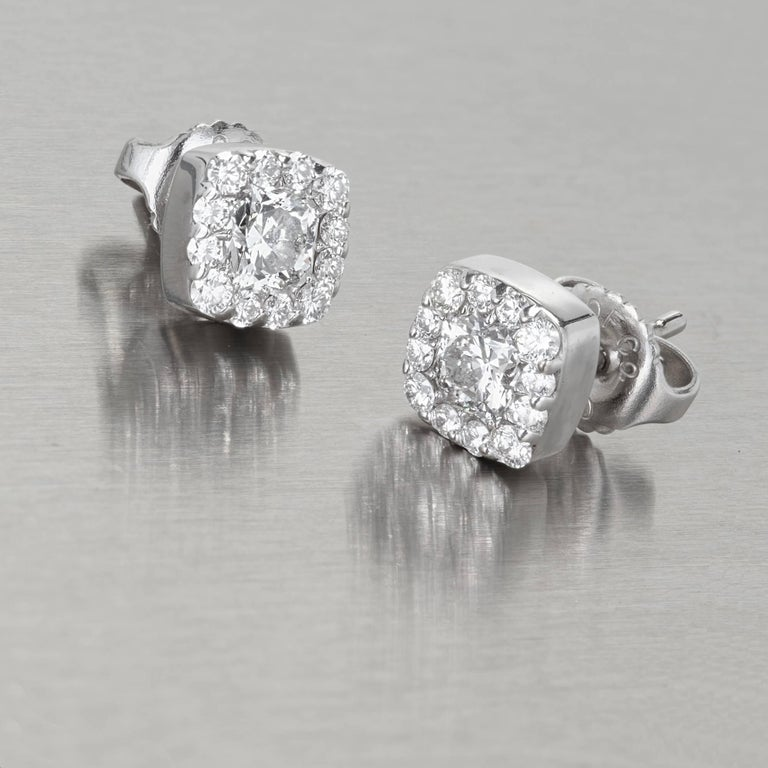 8576a4fc1 Hearts on Fire 1.06 Carat Diamond Gold Halo Cushion Square Stud Earrings  For Sale 2