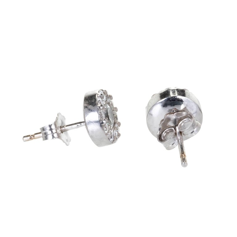 Hearts on Fire 1.00 Carat Diamond Gold Halo Round Stud Earrings 4