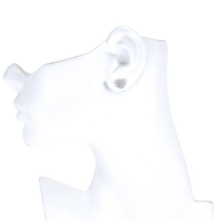 Hearts on Fire 1.00 Carat Diamond Gold Halo Round Stud Earrings 5