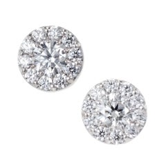 Hearts on Fire 1.00 Carat Diamond Gold Halo Round Stud Earrings