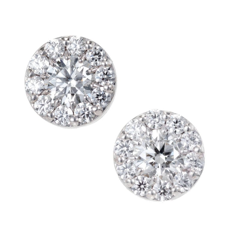 1.00 Carat Diamond Gold Halo Round Cluster Stud Earrings