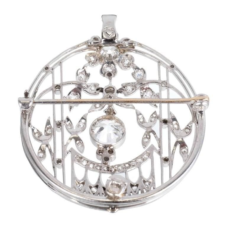 1.23 Carat Art Deco Diamond European Cut Platinum Gold Broche Pendant 2