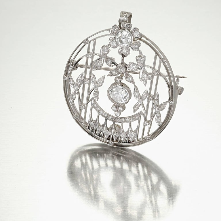 Women's 1.23 Carat Art Deco Diamond European Cut Platinum Gold Broche Pendant For Sale