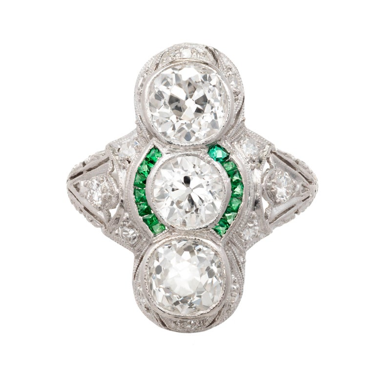 2.76 Diamond Emerald Three-Stone Art Deco Platinum Cocktail Ring