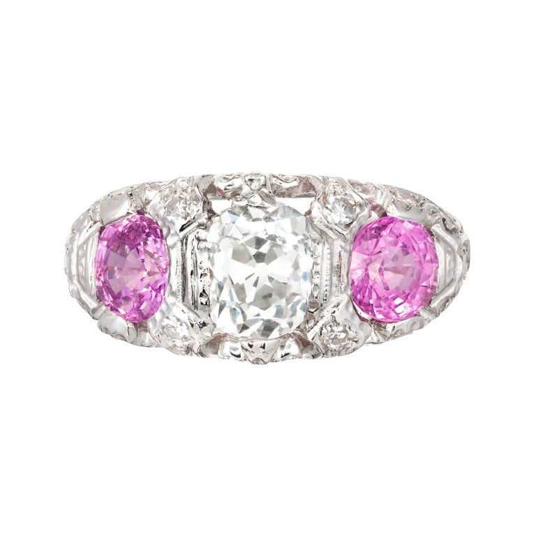 3.49 Carat Diamond Pink Sapphire Diamond Platinum Three-Stone Engagement Ring