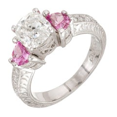 Peter Suchy 1.55 Carat Diamond Pink Sapphire Platinum Engagement Ring