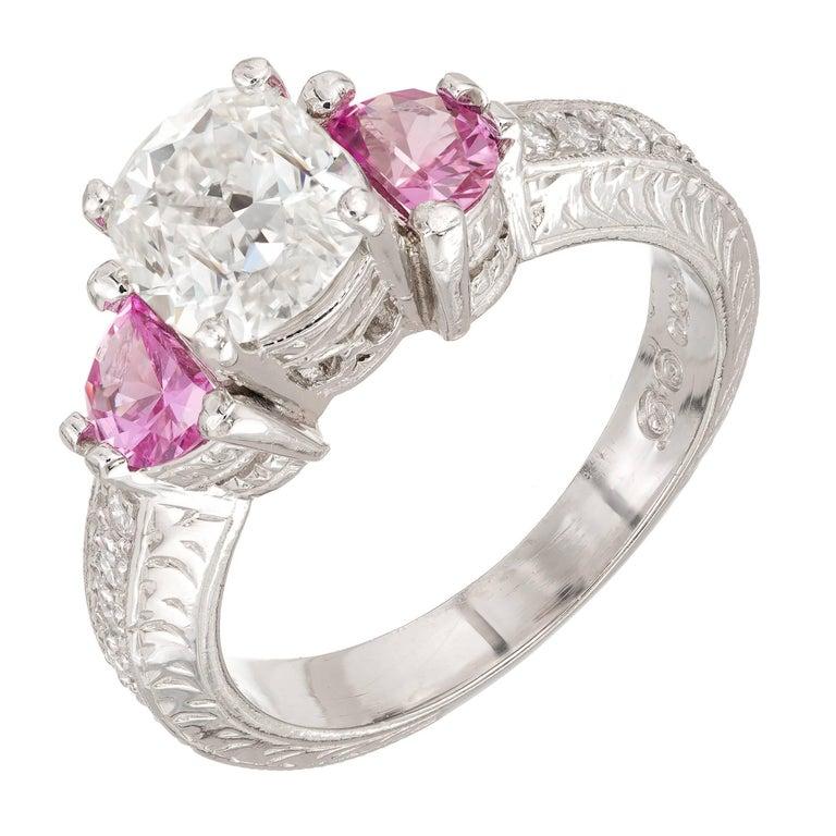 Peter Suchy 1.55 Carat Diamond Pink Sapphire Platinum Engagement Ring