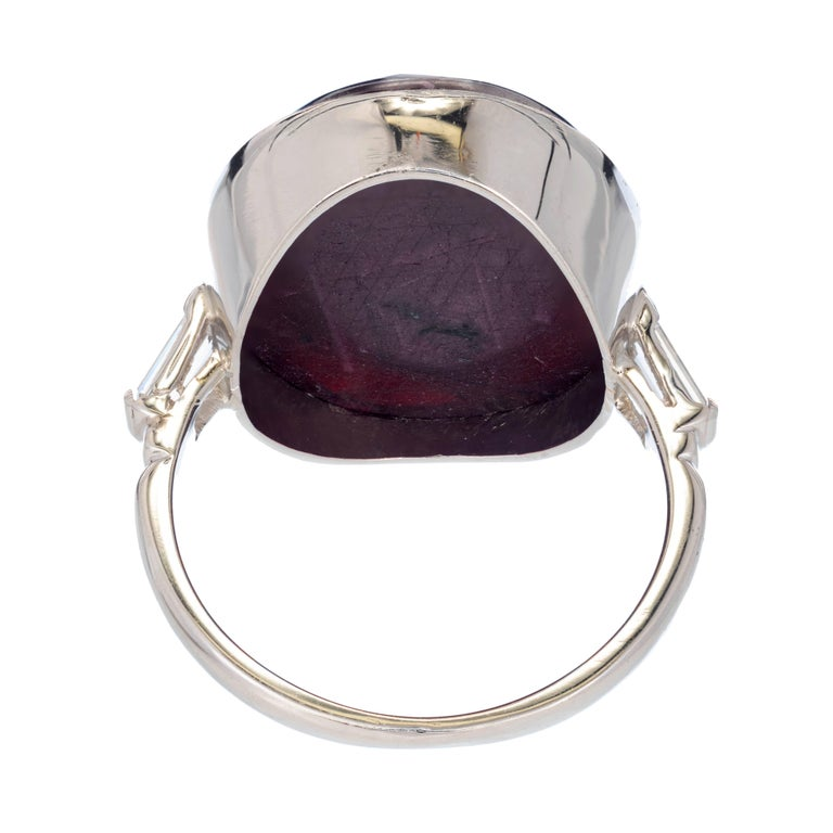 Women's GIA Certified 17.90 Carat Natural Purple Red Ruby Diamond Platinum Cocktail Ring For Sale
