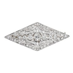 3.75 Carat Art Deco Old European Diamond Platinum Gold Brooche