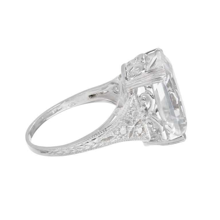 Emerald Cut Art Deco Natural Aquamarine Diamond Platinum Ring For Sale