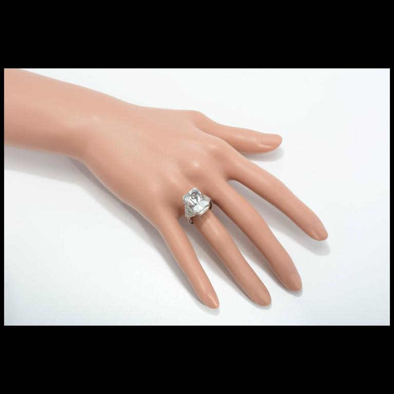 Art Deco Natural Aquamarine Diamond Platinum Ring For Sale 1