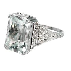 Art Deco Natural Aquamarine Diamond Platinum Ring