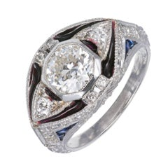 1.06 Carat Diamond Sapphire Blue Enamel Platinum Engagement Ring