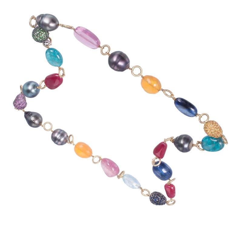 Modern Garnet Pearl Sapphire Ruby Aqua Opal Tourmaline Gold Bead Necklace For Sale