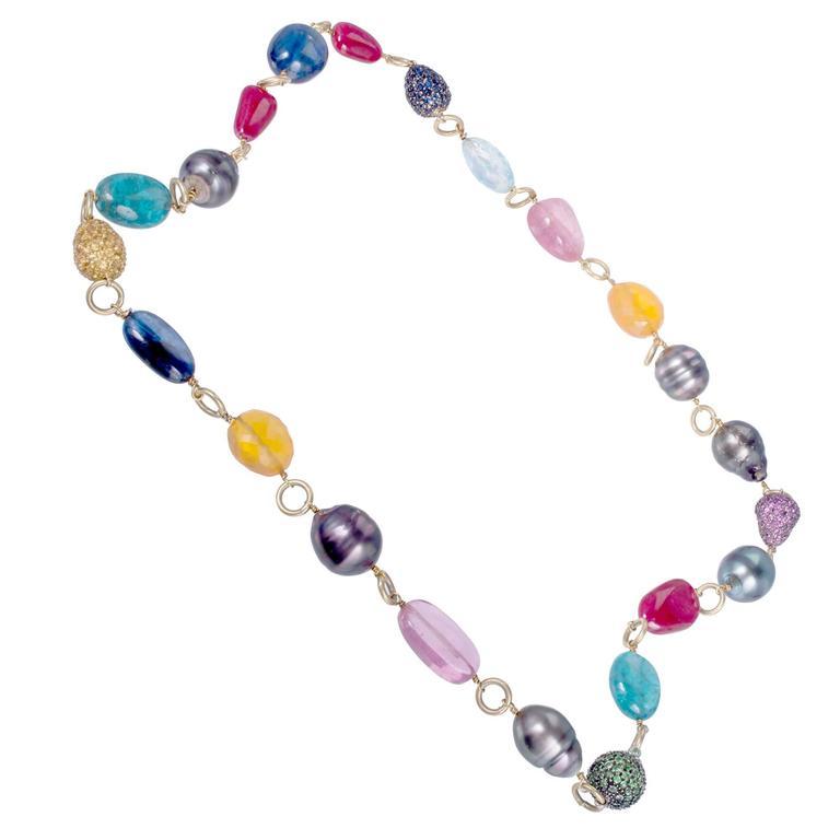 Garnet Pearl Sapphire Ruby Aqua Opal Tourmaline Gold Bead Necklace
