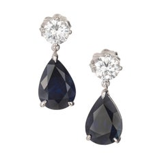 5.69 Carat Royal Blue Pear Shaped Sapphire Diamond Gold Dangle Earrings